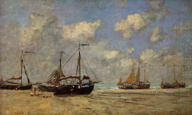 Scheveningen Boats Aground On The Shore 1875