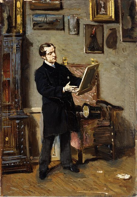 Self Portrait While Looking At A Painting 1865