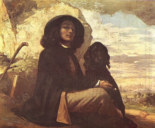 Self Portrait With A Black Dog 1841