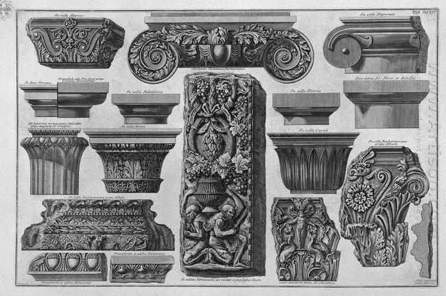 Several Capitals And A Bas Relief Farnese Gardens Villa Barberin