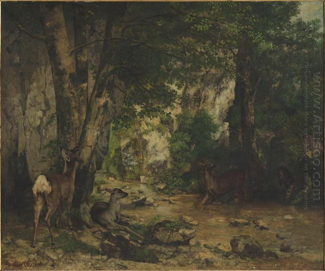 Shelter Of Deers At Plaisir Fontaine Creek 1866