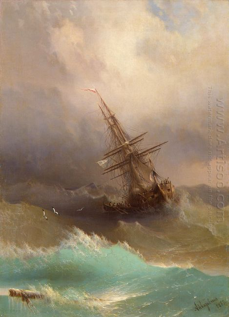 Ship In The Stormy Sea 1887