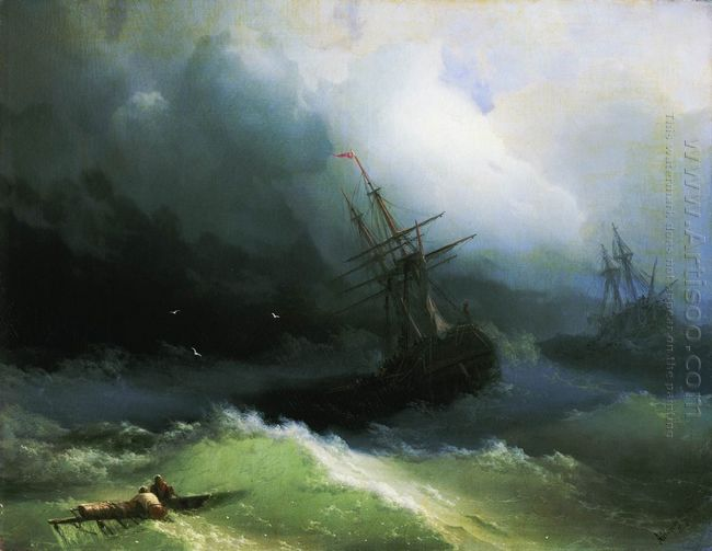 Ships In The Stormy Sea 1866