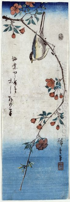 Small Bird On A Branch Of Kaidozakura 1848