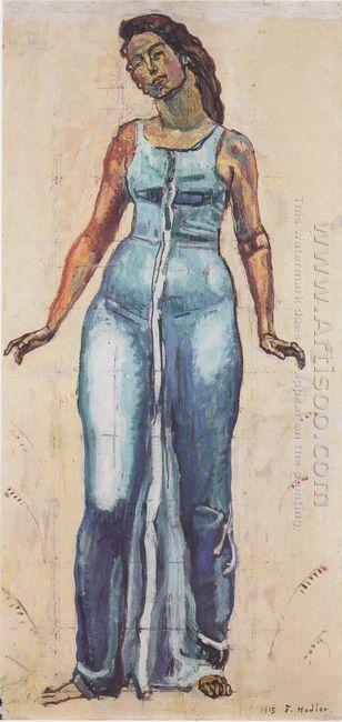 Standing Female Figure In A Blue Dress