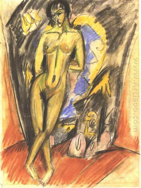 Standing Female Nude In Frot Of A Tent