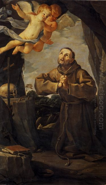 St Francis In Prayer With Two Angels 1631