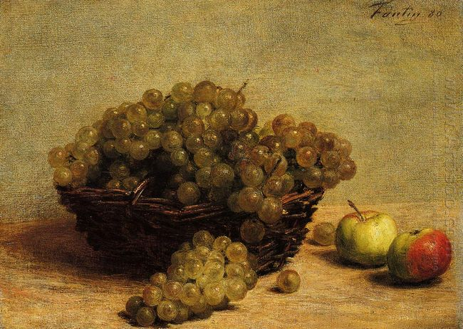 Still Life Apples And Grapes 1880