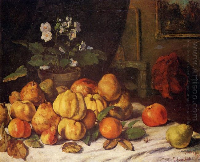 Still Life Apples Pears And Flowers On A Table Saint Pelagie 187