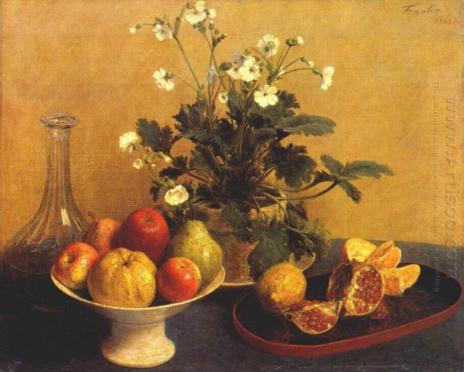 Still Life Flowers Bowl Of Fruit And Pitcher 1865