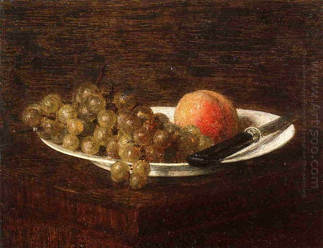 Still Life Peach And Grapes 1870