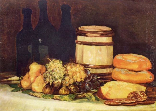 Still Life With Fruit Bottles Breads 1826