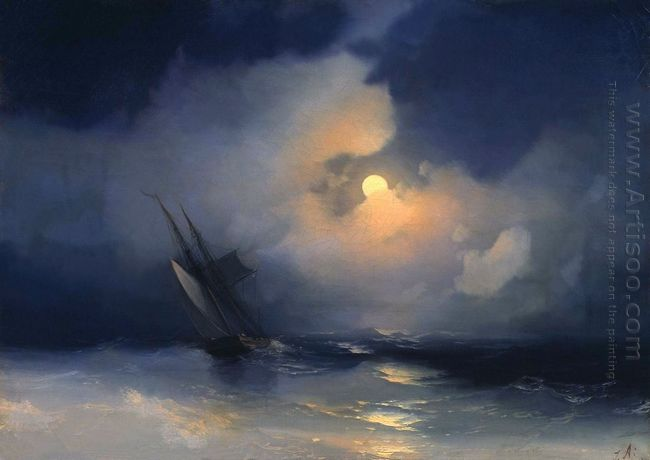 Storm At Sea On A Moonlit Night