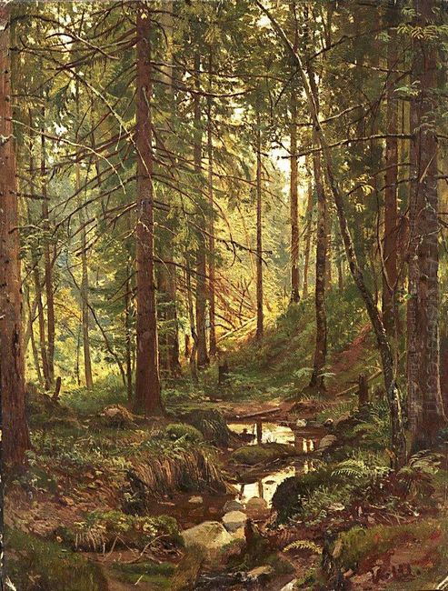 Stream By A Forest Slope 1880