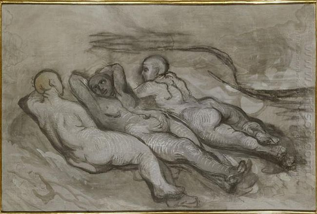 Study Of Three Naked Women Lying At The Foot Of A Cliff