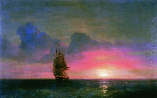Sunset A Lone Sailboat 1853