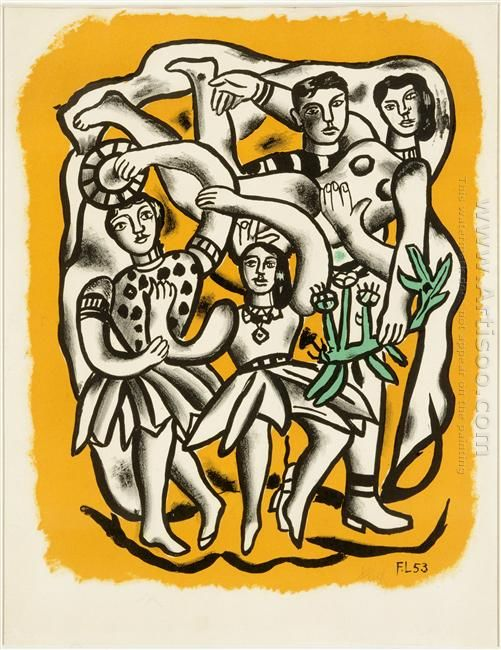 The Dancers Yellow Background 1954