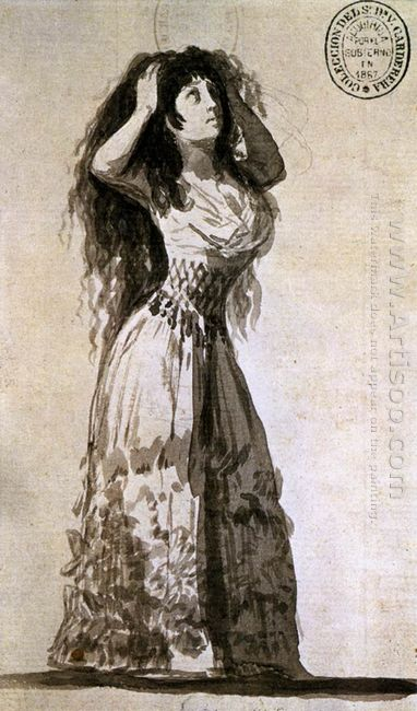 The Duchess Of Alba Arranging Her Hair 1796