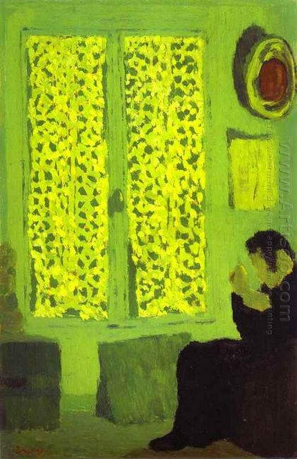 The Green Interior Or Figure In Front Of A Window With Drawn