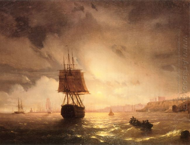 The Harbor At Odessa On The Black Sea 1852