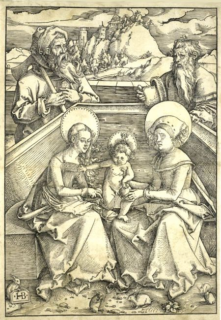 The Holy Family With Saint Anne And Saint Joachim Gravure Sur Bo