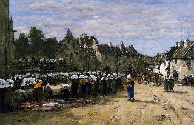 The Market At Landenneau 1870