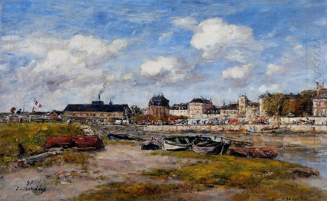 The Port Of Trouville Low Tide 1897