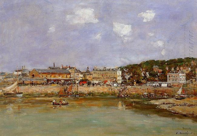 The Port Of Trouville The Market Place And The Ferry 1884