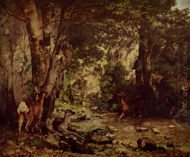 The Return Of The Deer To The Stream At Plaisir Fontaine 1866