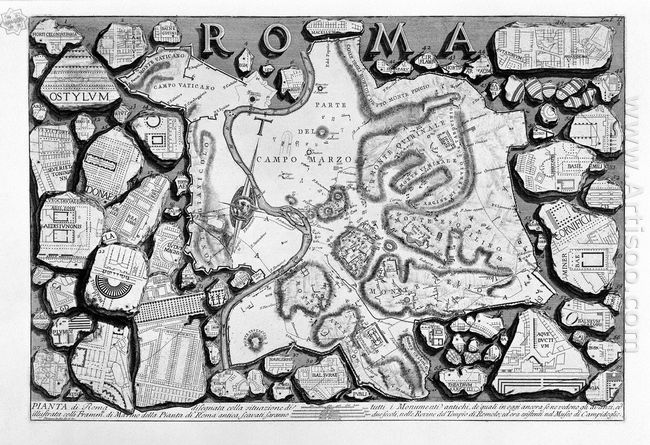 The Roman Antiquities T 1 Plate Ii Map Of Ancient Rome And Forma