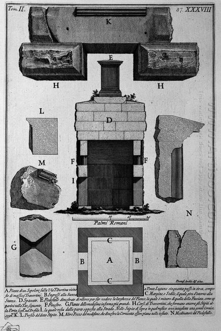 The Roman Antiquities T 2 Plate Xxxviii Cutaway View Of The Tomb