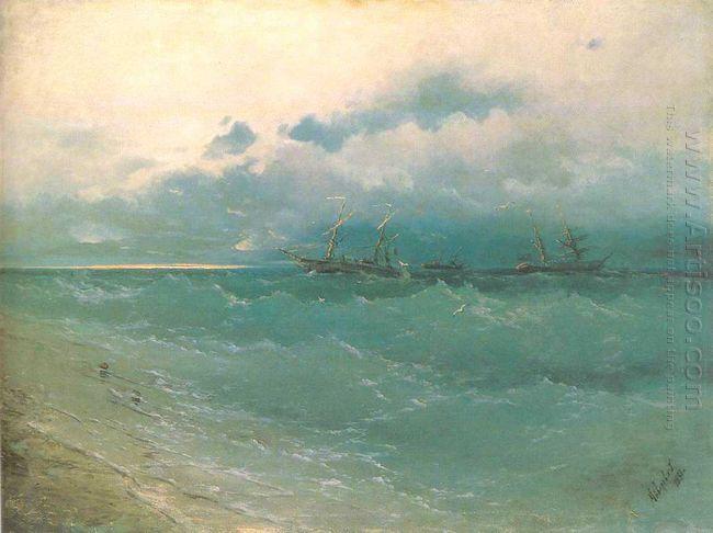 The Ships On Rough Sea Sunrise 1871