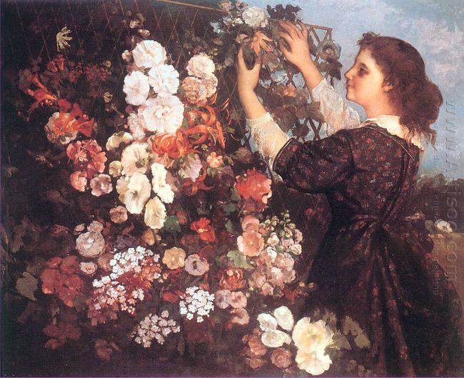 The Trellis Young Woman Arranging Flowers 1862