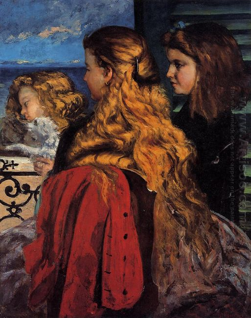 Three English Girls At A Window 1865
