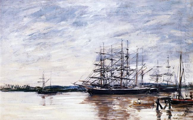 Three Masted Ship In Port Bordeaux