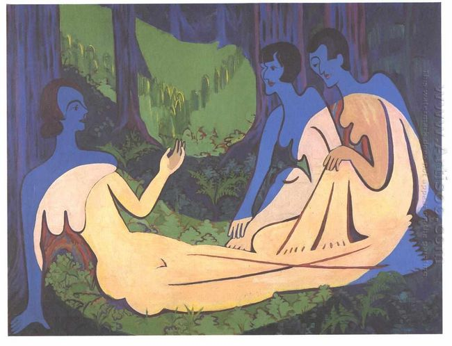Three Nudes In The Forest 3