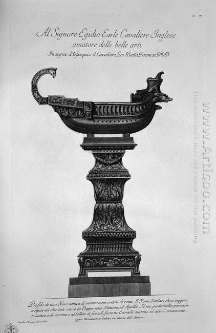 Trireme Roman With Marble Pedestal