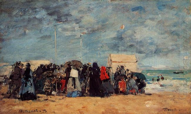 Trouville Beach Scene 1873