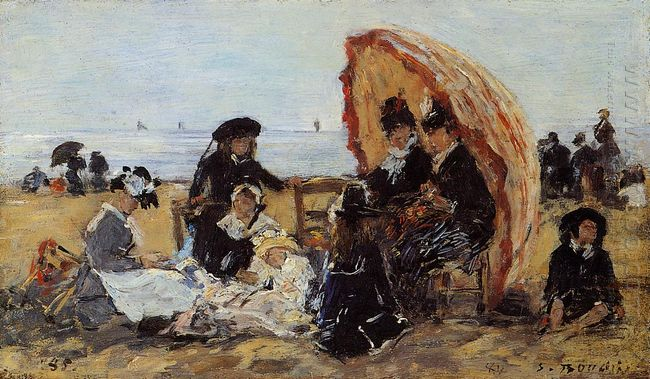 Trouville On The Beach Sheltered By A Parasol 1895