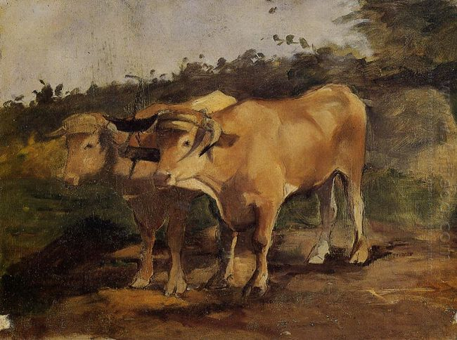 Two Bulls Wearing A Yoke 1881