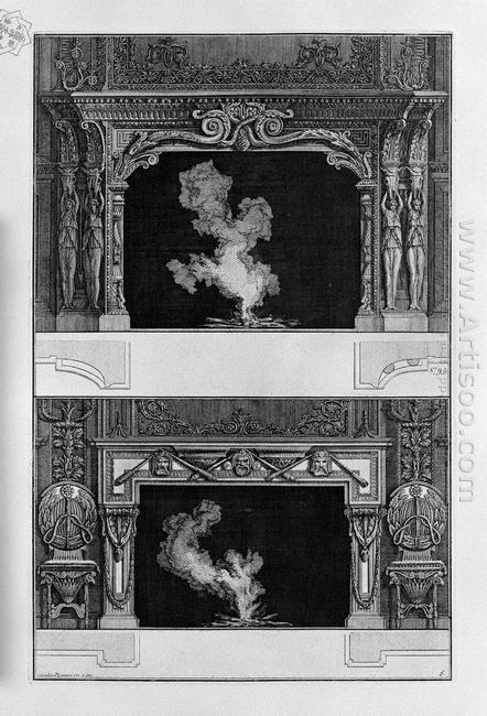 Two Fireplaces Overlapping The Tragic Masks With 3 Inf Joined To
