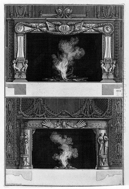Two Fireplaces Superimposed With The Support Cameos And Sphinxes