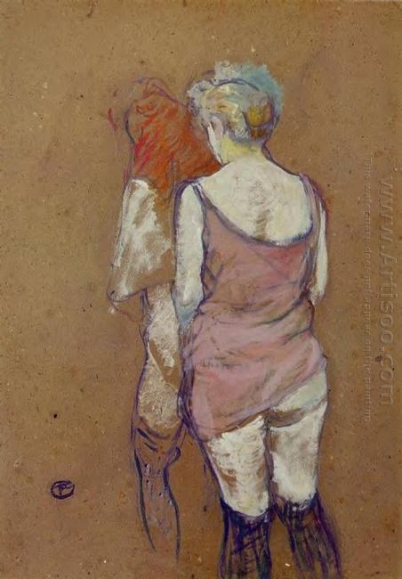 Two Half Naked Women Seen From Behind In The Rue Des Moulins Bro