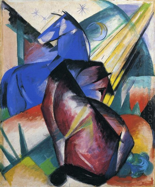 Two Horses Red And Blue 1912