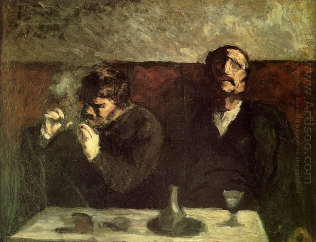 Two Men Sitting With A Table Or The Smokers