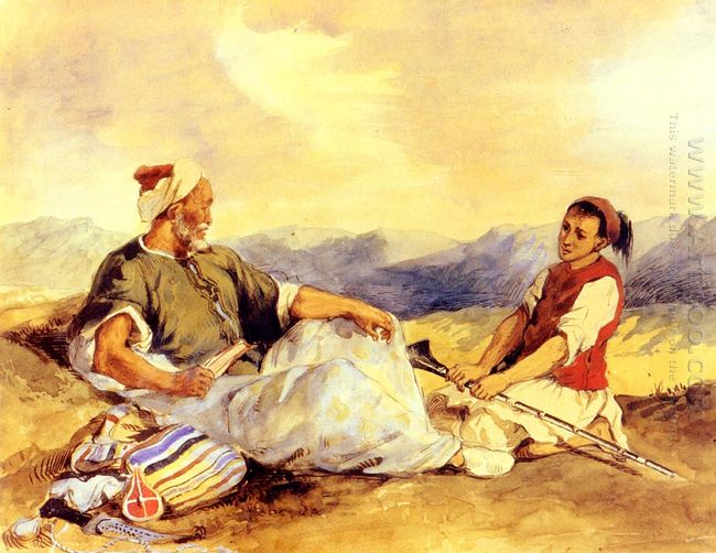 Two_Moroccans Seated In The Countryside