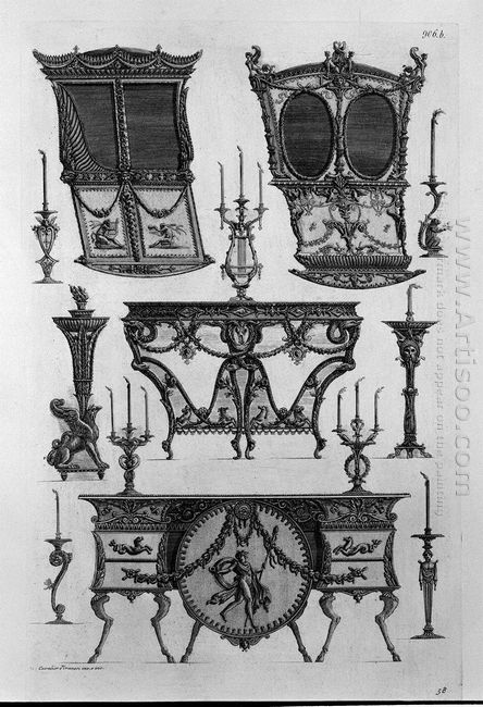 Two Sides Of Sedan Chairs Two Tables To The Wall Nine Chandelier