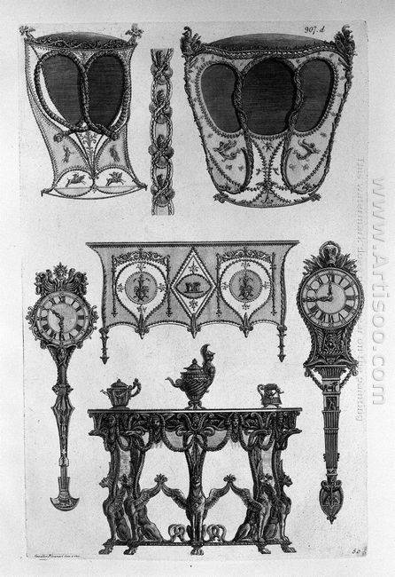 Two Sides Of Sedan Chairs Two Tables To The Wall Two Clocks Thre