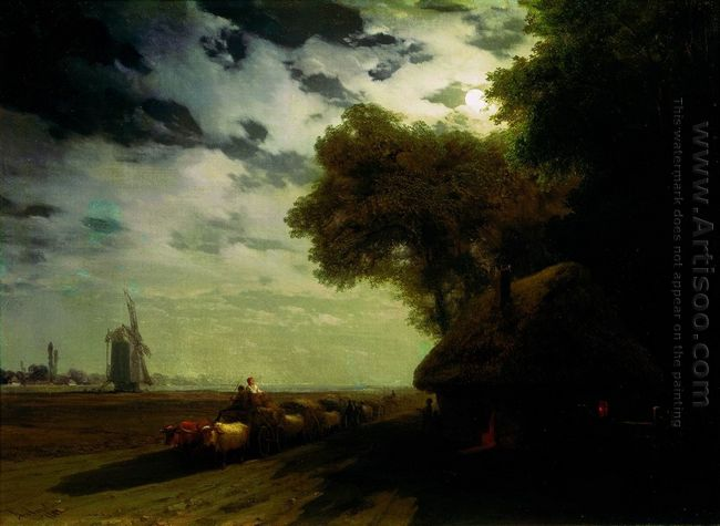 Ukrainian Landscape With Chumaks In The Moonlight 1869