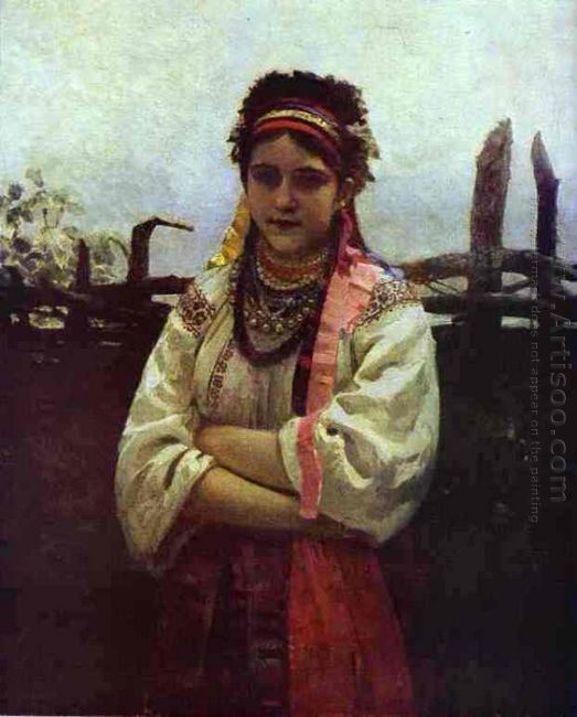 Ukranian Girl By A Fence 1876